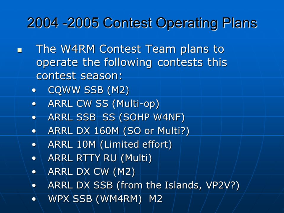 2004 -2005 Contest Operating Plans