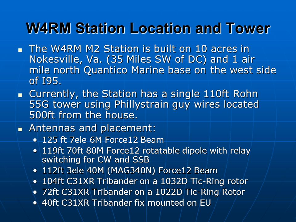 W4RM Station Location and Tower