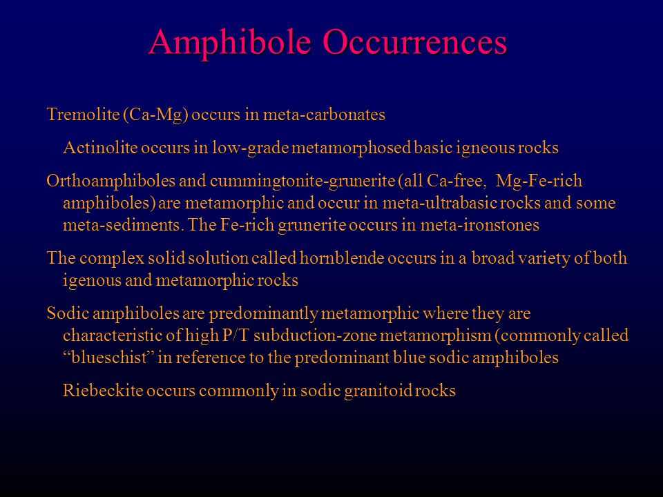 Amphibole Occurrences