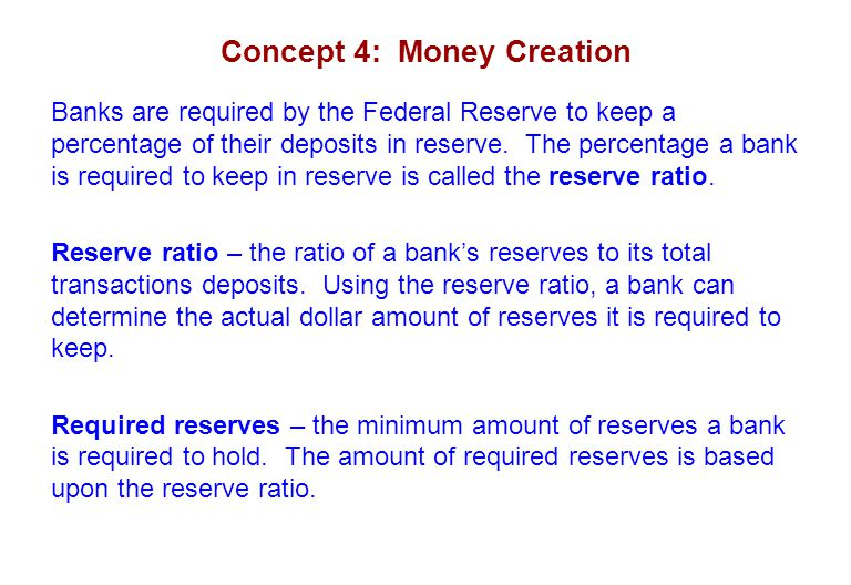 Concept 4: Money Creation