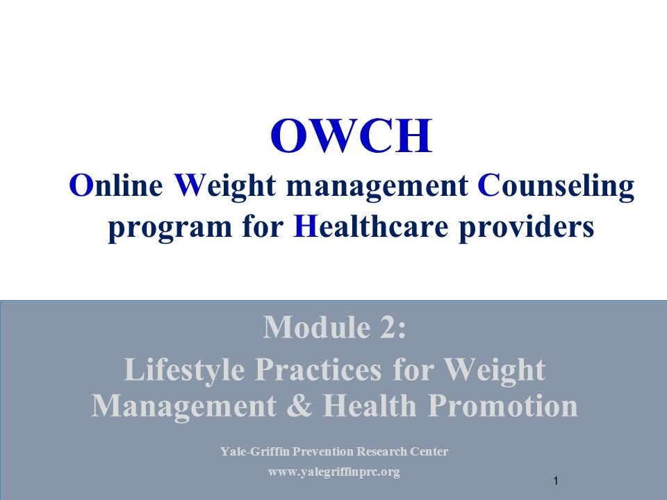 OWCH Online Weight management Counseling program for Healthcare providers