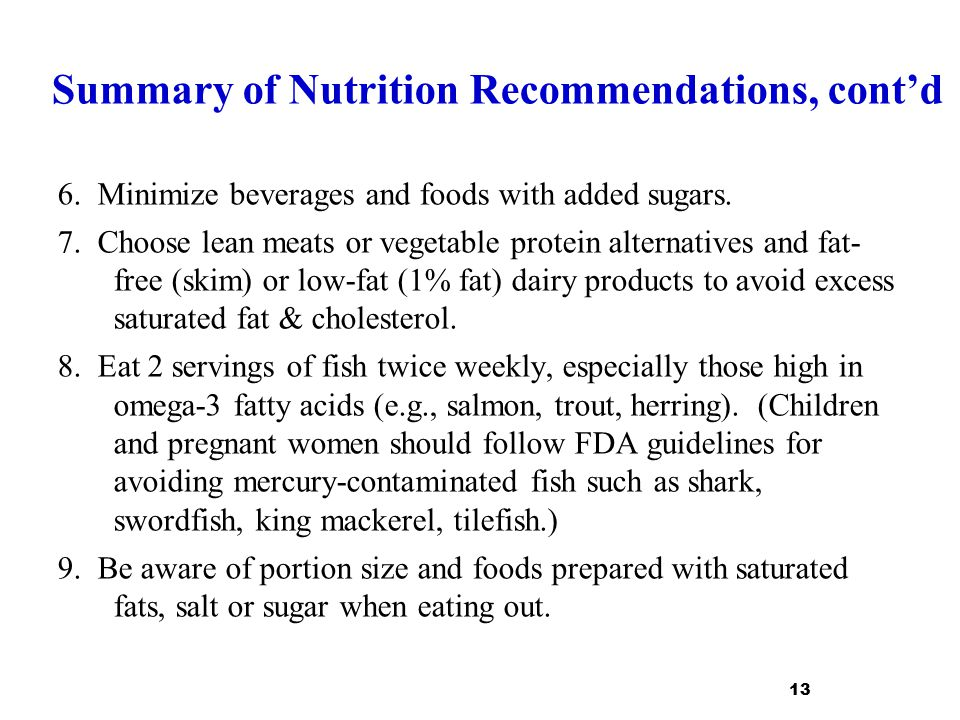 Summary of Nutrition Recommendations, cont'd