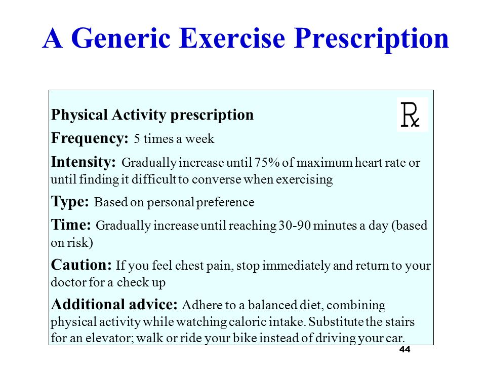 A Generic Exercise Prescription