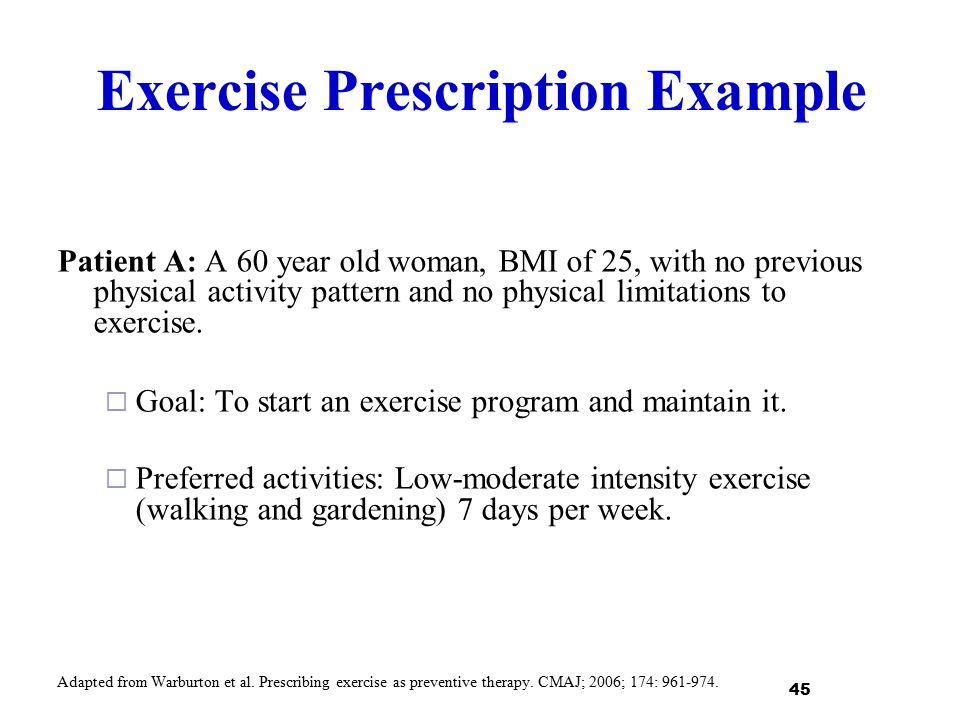 Exercise Prescription Example