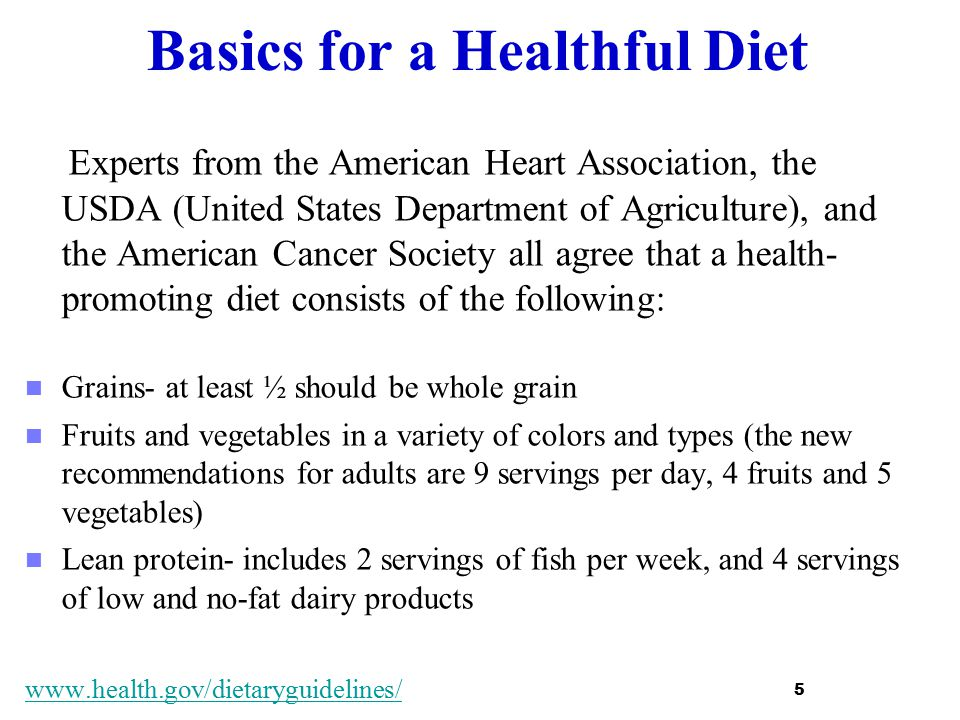 Basics for a Healthful Diet