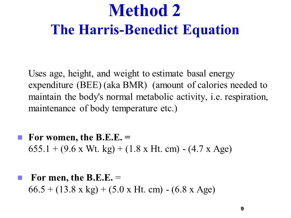 Method 2 The Harris-Benedict Equation
