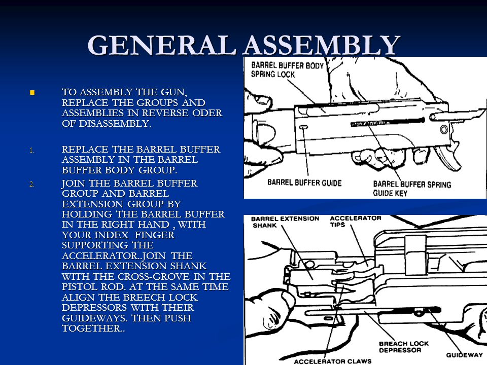 GENERAL ASSEMBLY TO ASSEMBLY THE GUN, REPLACE THE GROUPS AND ASSEMBLIES IN REVERSE ODER OF DISASSEMBLY.