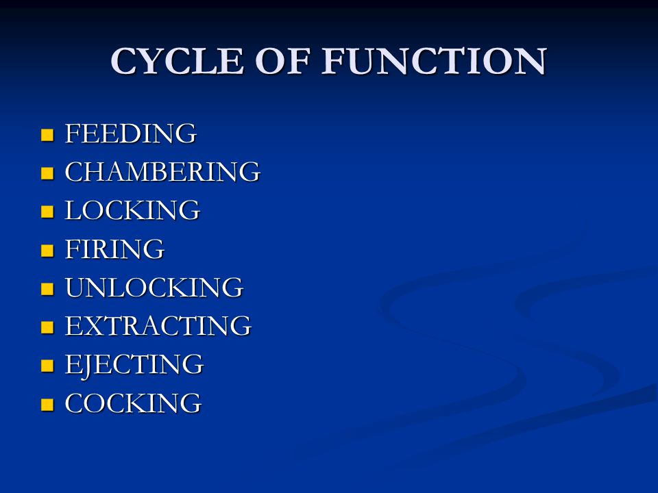 CYCLE OF FUNCTION FEEDING CHAMBERING LOCKING FIRING UNLOCKING