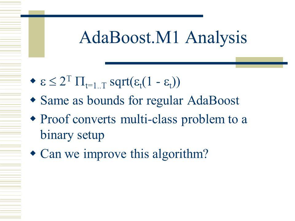 AdaBoost.M1 Analysis   2T t=1..T sqrt(t(1 - t))