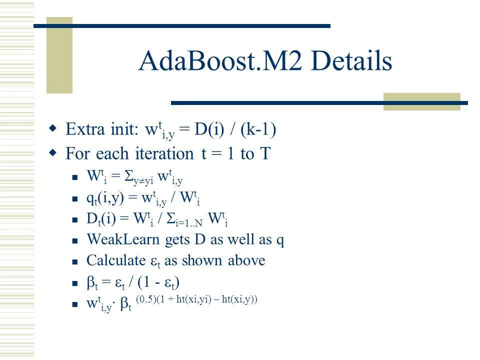 AdaBoost.M2 Details Extra init: wti,y = D(i) / (k-1)
