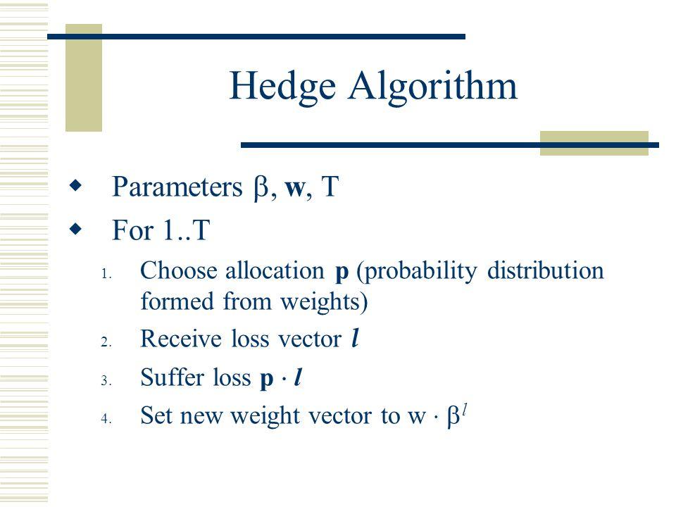 Hedge Algorithm Parameters , w, T For 1..T