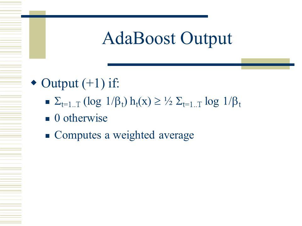 AdaBoost Output Output (+1) if: