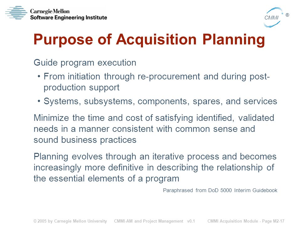 Purpose of Acquisition Planning