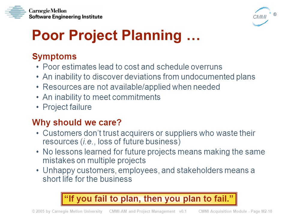 Poor Project Planning …