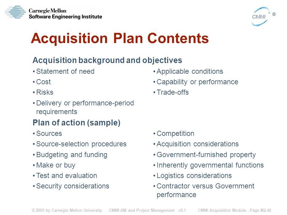 Acquisition Plan Contents