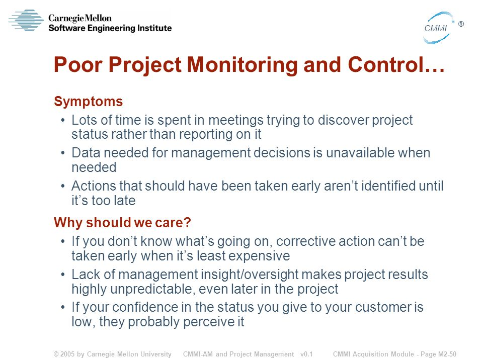 Poor Project Monitoring and Control…