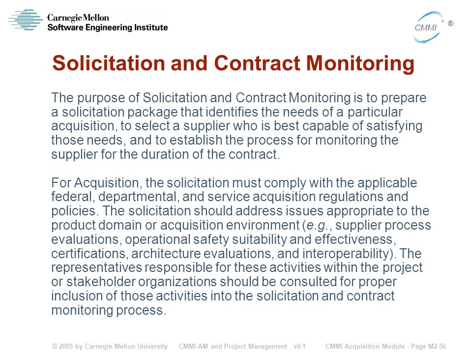 Solicitation and Contract Monitoring