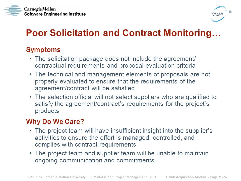 Poor Solicitation and Contract Monitoring…