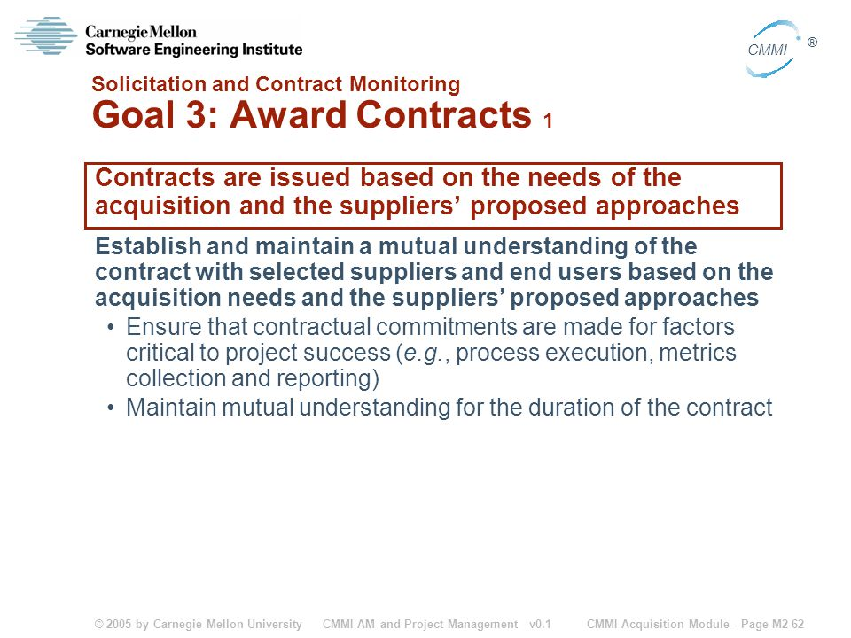 Solicitation and Contract Monitoring Goal 3: Award Contracts 1