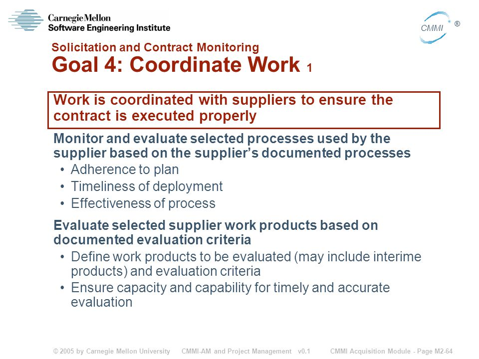 Solicitation and Contract Monitoring Goal 4: Coordinate Work 1