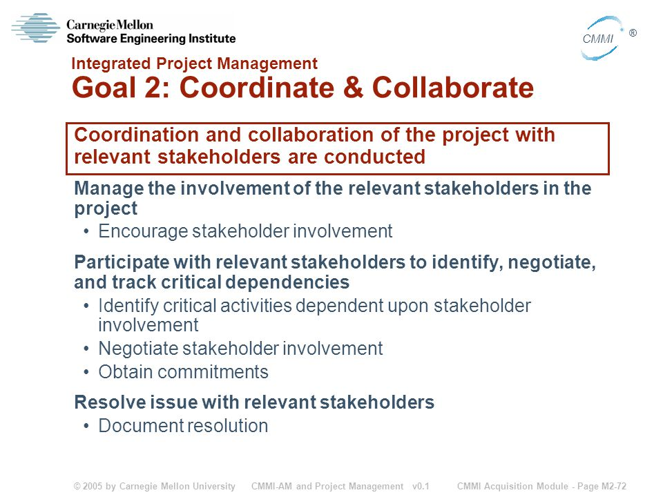 Integrated Project Management Goal 2: Coordinate & Collaborate