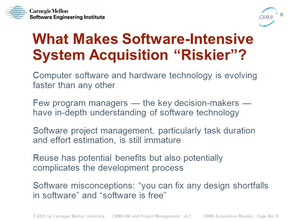 What Makes Software-Intensive System Acquisition Riskier
