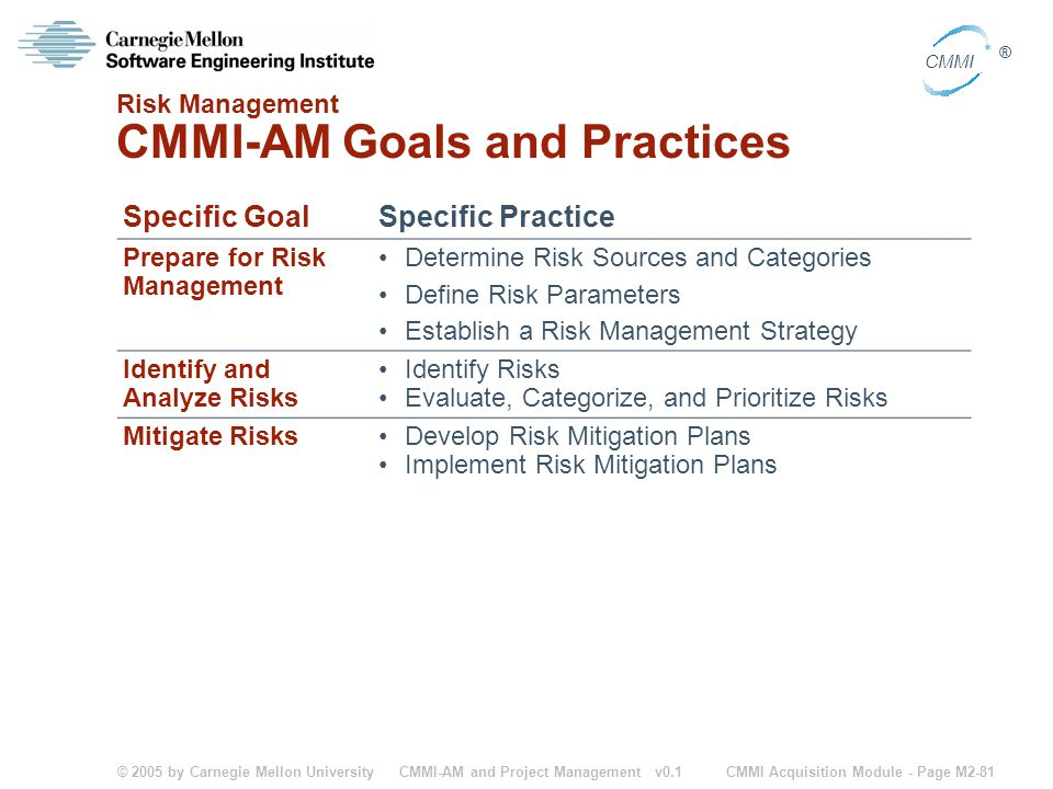 Risk Management CMMI-AM Goals and Practices