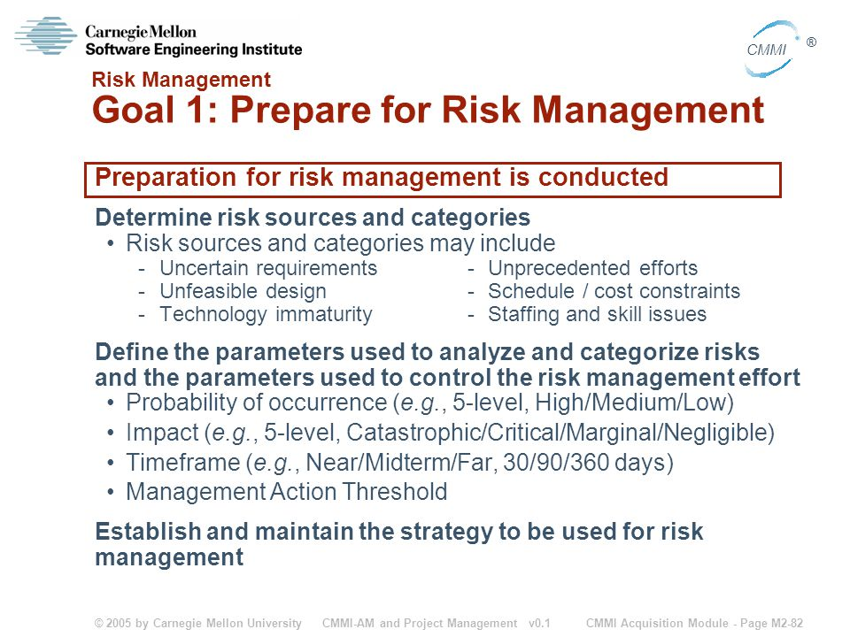 Risk Management Goal 1: Prepare for Risk Management