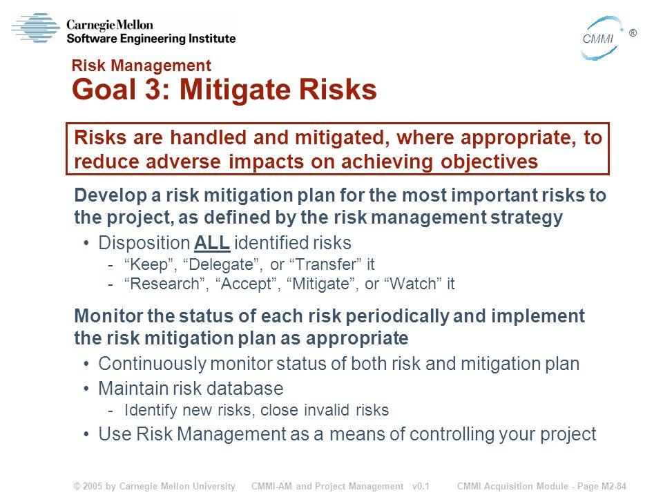 Risk Management Goal 3: Mitigate Risks