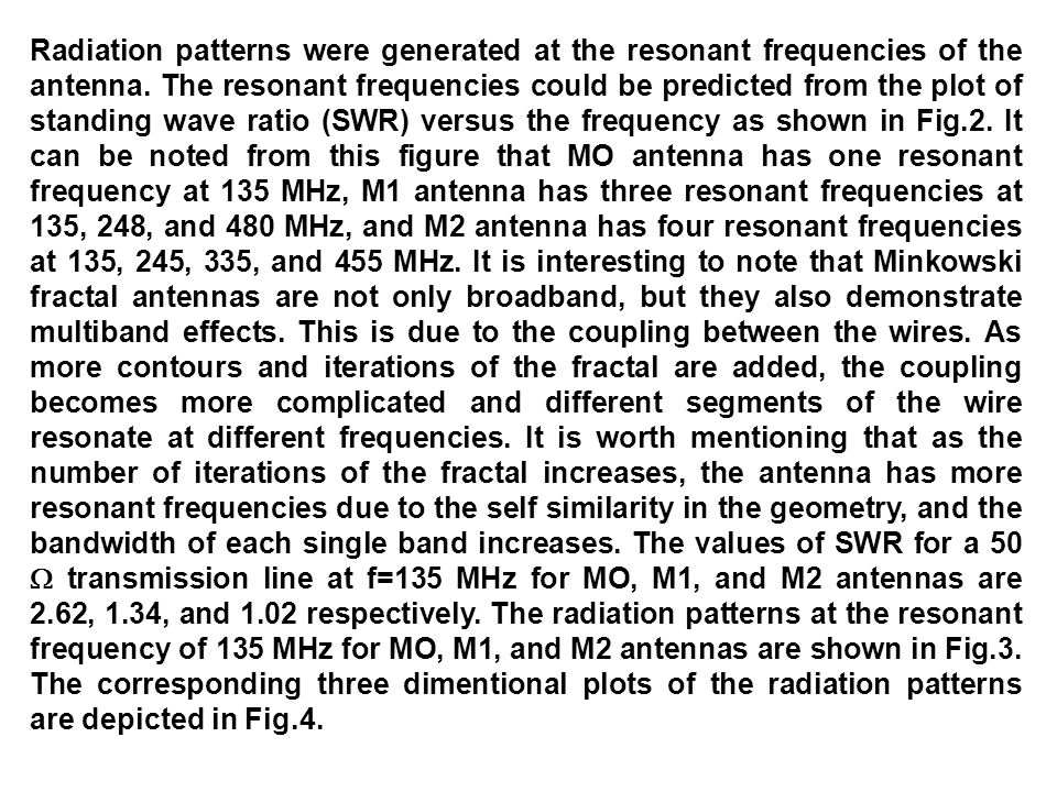 Radiation patterns were generated at the resonant frequencies of the antenna.