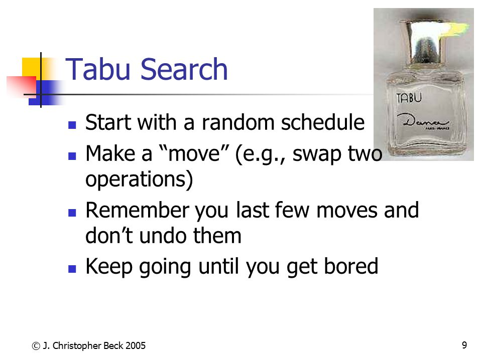 Tabu Search Start with a random schedule
