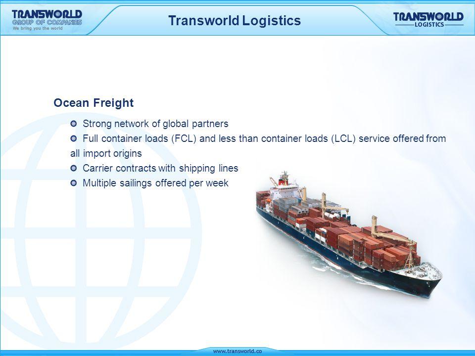 Transworld Logistics Ocean Freight Strong network of global partners