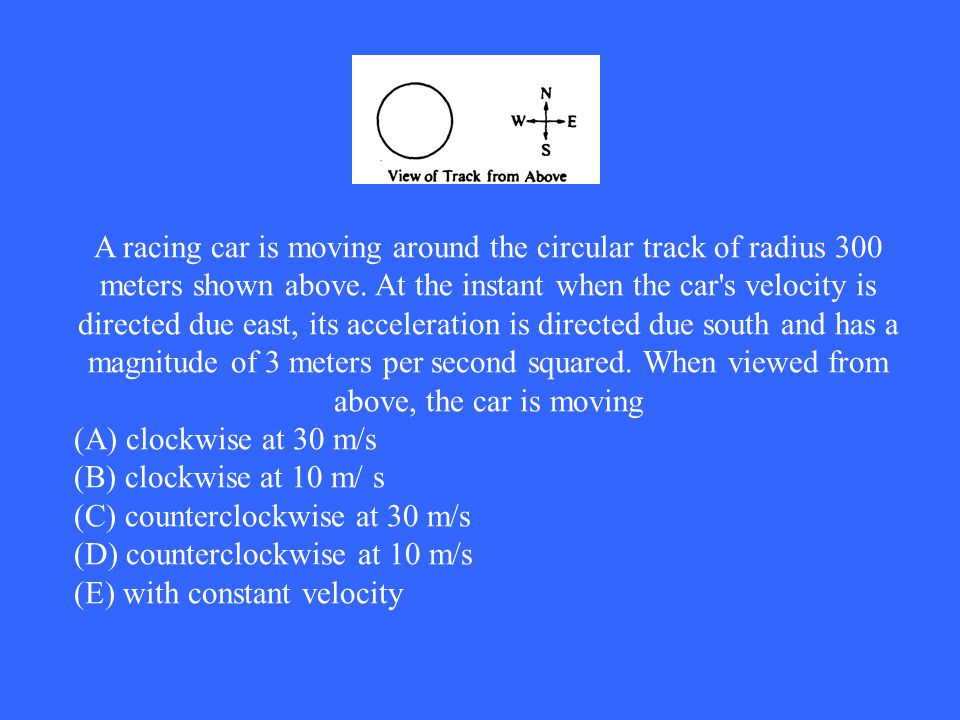 A racing car is moving around the circular track of radius 300 meters shown above. At the instant when the car s velocity is directed due east, its acceleration is directed due south and has a magnitude of 3 meters per second squared. When viewed from above, the car is moving