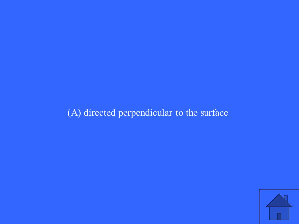 (A) directed perpendicular to the surface
