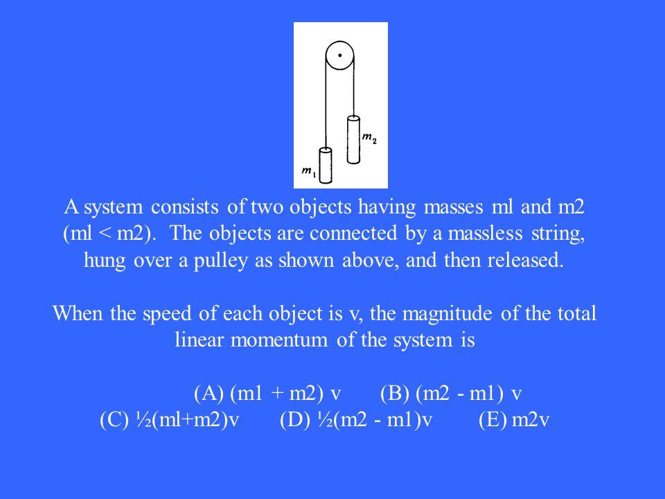 (C) ½(ml+m2)v (D) ½(m2 - m1)v (E) m2v