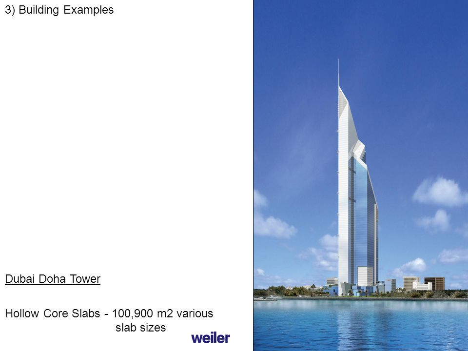 3) Building Examples Dubai Doha Tower Hollow Core Slabs - 100,900 m2 various slab sizes