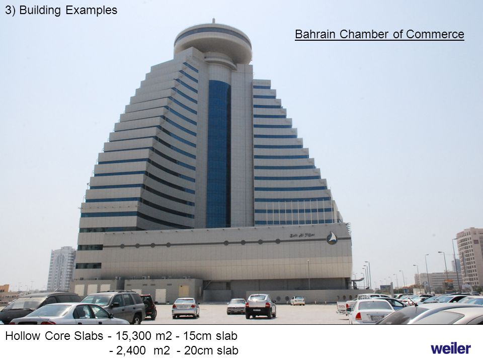 3) Building Examples Bahrain Chamber of Commerce. Hollow Core Slabs - 15,300 m2 - 15cm slab.