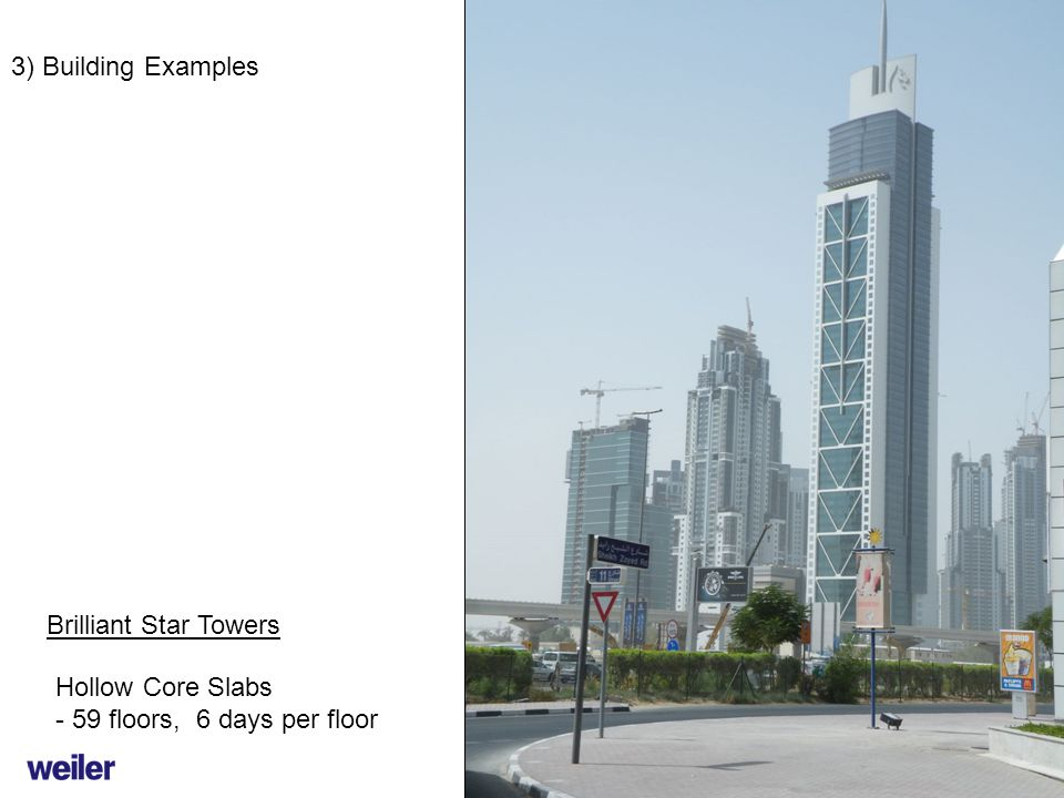 3) Building Examples Brilliant Star Towers Hollow Core Slabs - 59 floors, 6 days per floor