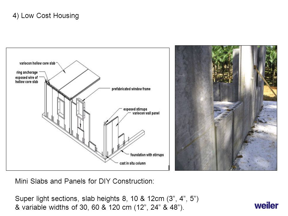 4) Low Cost Housing Mini Slabs and Panels for DIY Construction: