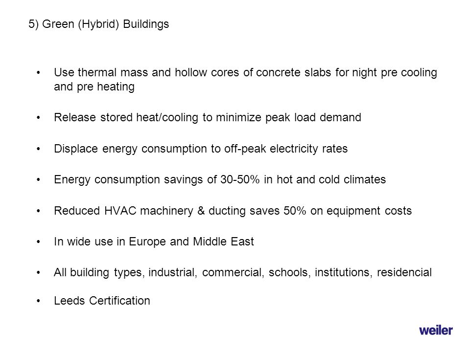 5) Green (Hybrid) Buildings