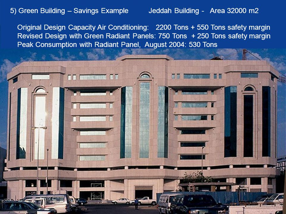 5) Green Building – Savings Example Jeddah Building - Area 32000 m2