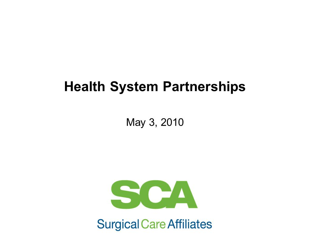 Health System Partnerships
