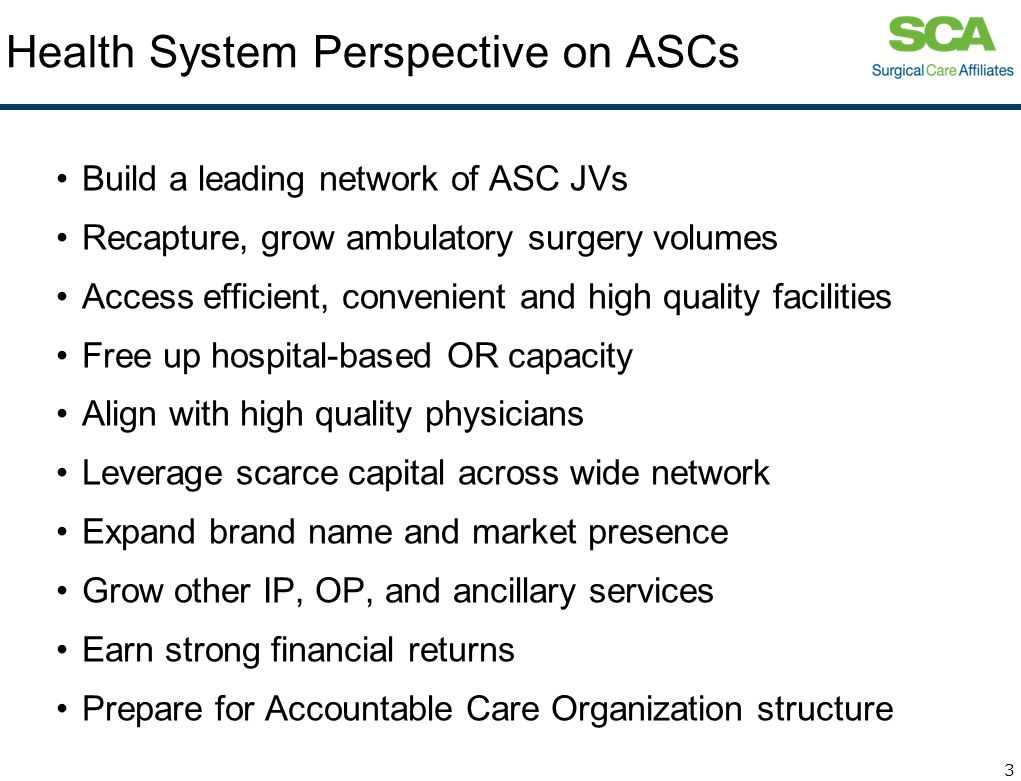 Health System Perspective on ASCs