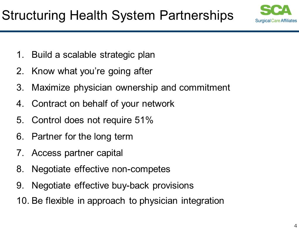 Structuring Health System Partnerships