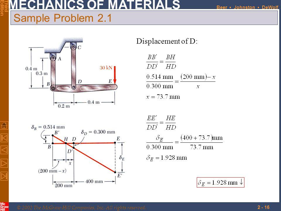 Sample Problem 2.1 Displacement of D:
