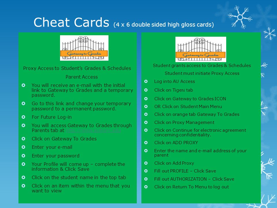 Cheat Cards (4 x 6 double sided high gloss cards)