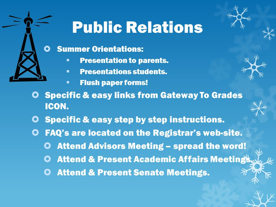 Public Relations Specific & easy links from Gateway To Grades ICON.