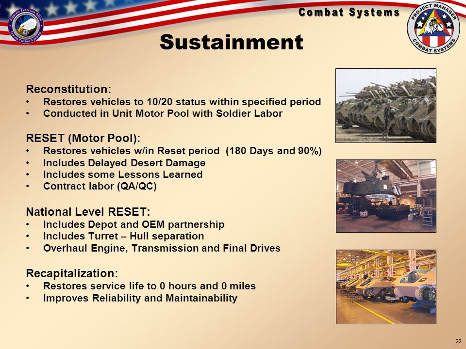 Sustainment Reconstitution: RESET (Motor Pool): National Level RESET: