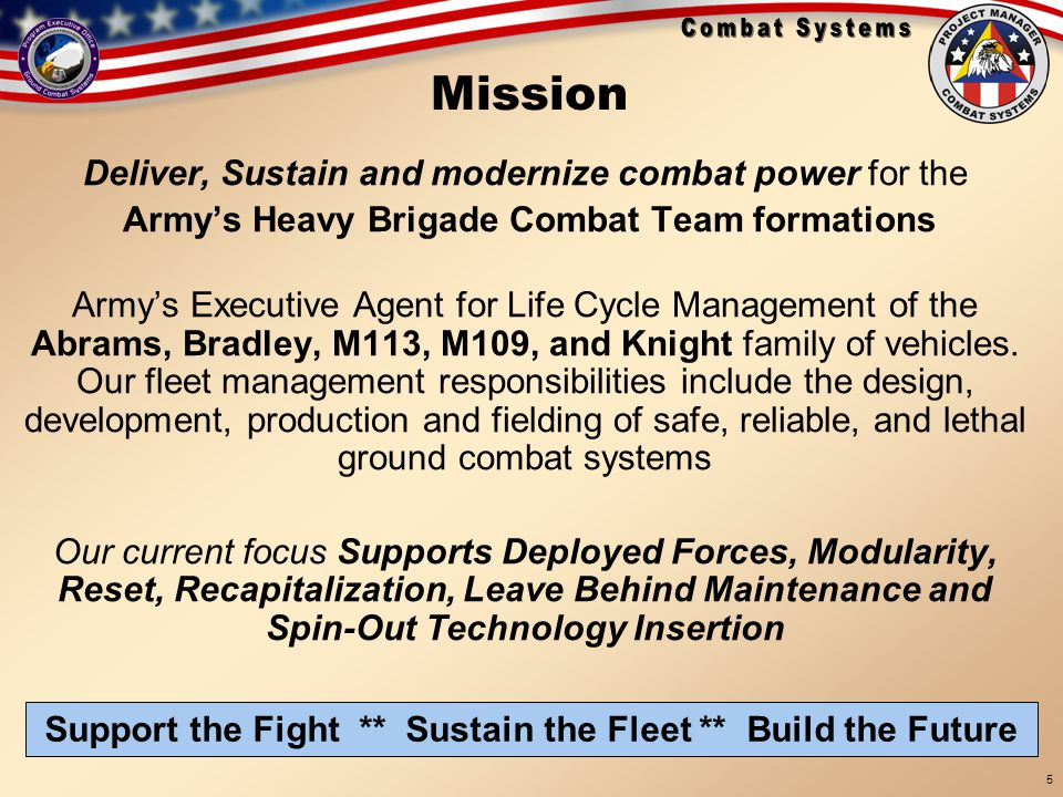 Support the Fight ** Sustain the Fleet ** Build the Future