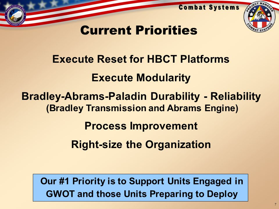 Current Priorities Execute Reset for HBCT Platforms Execute Modularity